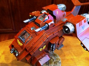 Blood Angels Stormraven Gunship cockpit and turret close up.