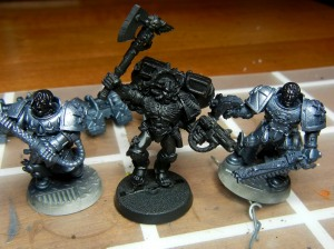 This show the raw airbrushed death company marines next to a standard primer black model