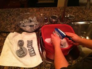 Scrubbing mold release off reaver titan parts
