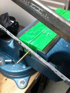 Cutting brass rod to pin a reaver titan Knee