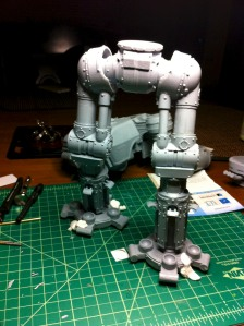 Test fitting Reaver Titan leg assembly
