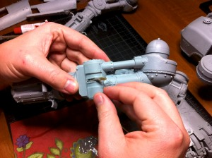 Inserting the pin into the knee of a Reaver Titan