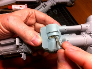 Seating the knee pins on a Reaver Titan