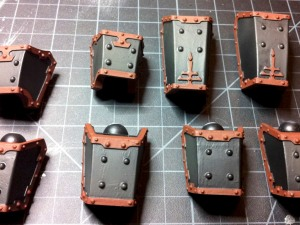 Reaver Titan Leg piston guards with ruddy brown trim