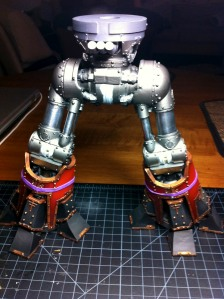 Reaver Titan lower leg armor plates, drying with rubber bands