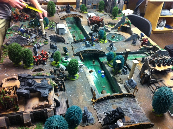 Space Marines vs. Tau at At Ease Games in Poway