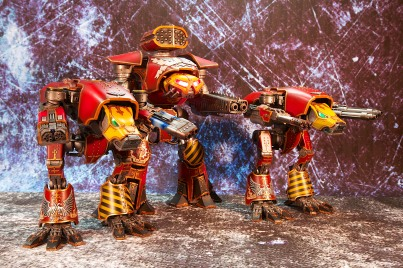 2 Warhounds and a Reaver Titan of the Legio Invictus