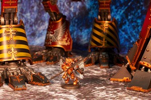 Forgeworld Warhound Titan scale shot with Sanguinary Guard